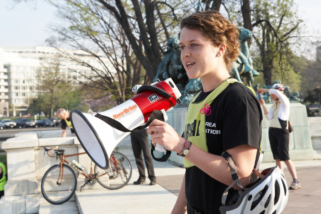 Nelle Pierson, 2010 serving as a marshal at a Washington, D.C. bicycle awareness event.