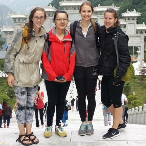 Kathleen Hamel, Kristen Mullen's student Emily Wang, a fellow teacher, and Kristen Mullen after the exhausting climb up Mount Hua Shan