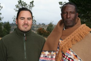 David Riep, left, and Morena L.C. Mota, paramount chief of the Batlokwa ba Mota. Photo by David Riep