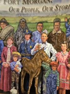 This mural in the Fort Morgan museum reflects the community's ethnic diversity.