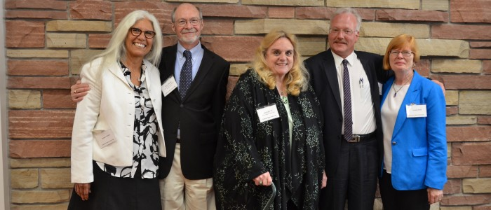 Dean Gill, Associate Dean Bruce Ronda, and department chairs Irene Vernon, John Didier and Louann Reid celebrate at the Eddy Hall re-opening event.