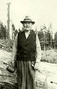 John Wallace, a Haida master carver, had been trained in carving as a child by his own father, Dwight Wallace, who is regarded as one of the great classical artists of 19th century totem pole carving. But because of missionary condemnation of totem poles and the need to earn a living as a fisherman, he only returned to totem pole carving at the very end of his life when there was government support to do so. He taught a new generation of carvers the skills his father had taught him in the 1860s.