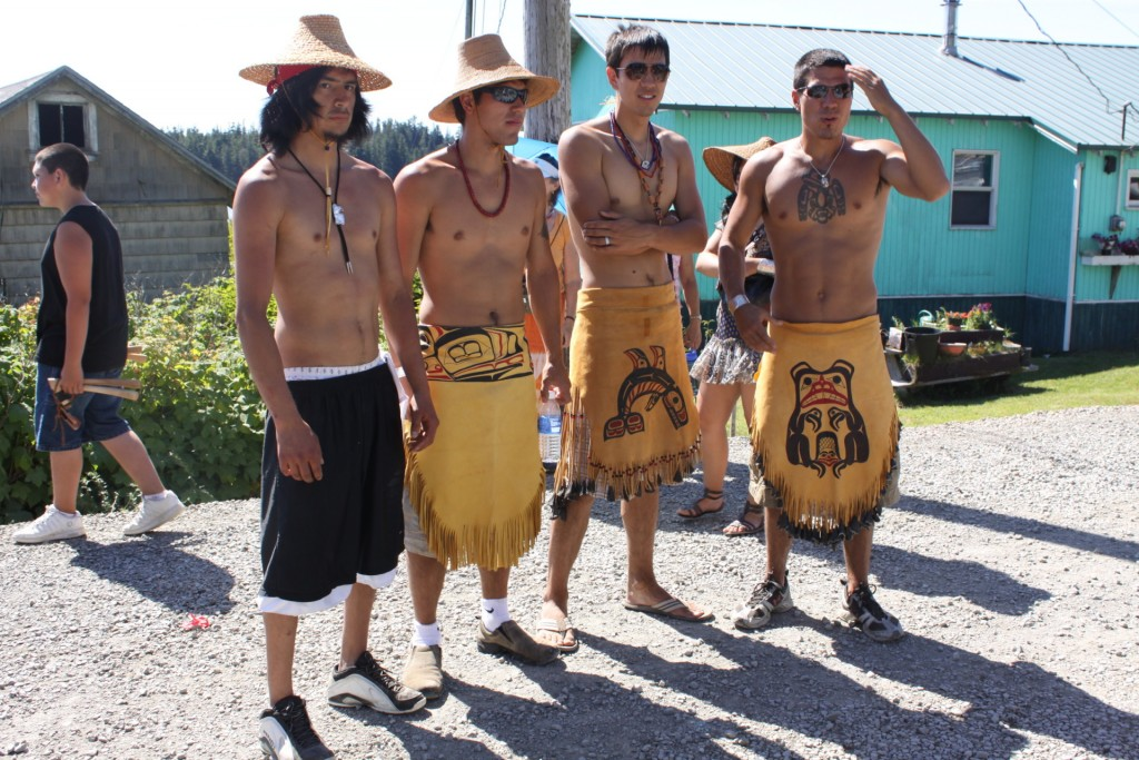 From left, members of the new generation of carvers in Hydaburg, Alaska, include Timothy Peele, Joseph Young, Benjamin Young and T.J. Young.