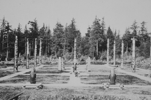 The totem park at Hydaburg as it appeared in 1941: a strict grid of poles in rows (very different from the tradition of placing totem poles in front of clan houses or at gravesides along the beach).