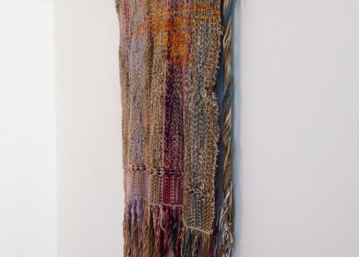 5:55:00 AM by Taylor Landry. Dyed and Discharged Cotton, Hemp, Dyed Wood and Merino Wool.