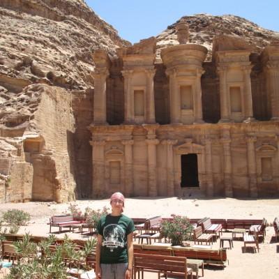 Eliz Hale at a monastery in Petra.