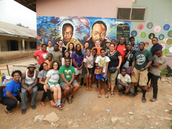 Students helped paint this mural of Dr martin Luther King Jr. and Dr. Kwame Nkrumah at the Youth Institute for Science and Technology in the Ashanti Region, Ghana.
