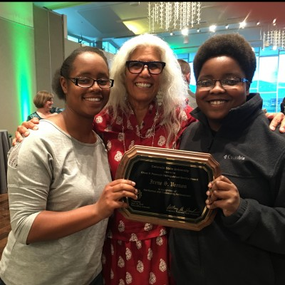 Vernon with ethnic studies students Briana Compton and Angela Groves at the Celebrate! CSU awards 2016.