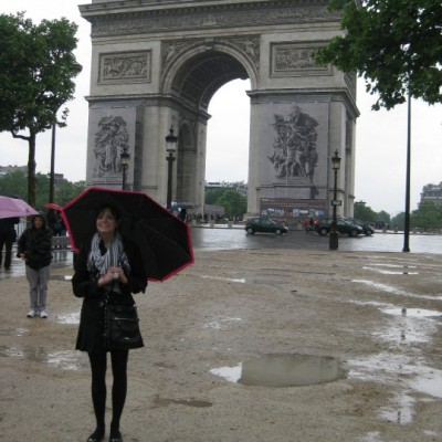 Martz in front of the Arc de Triomphe in Paris.