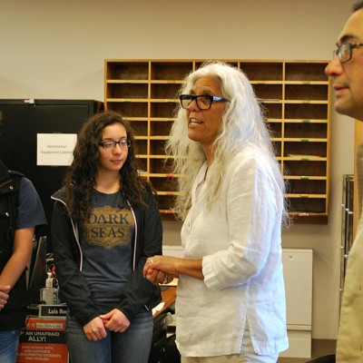 Department of Ethnic Studies head Irene Vernon, speaks to students during their visit.