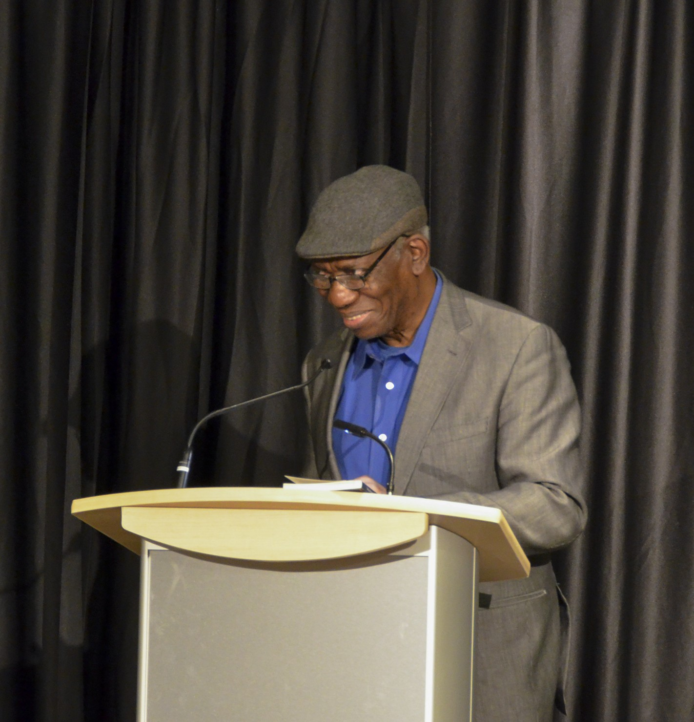 Yusef Komunyakaa reads at a Creative Writing Reading Series event in April 2016