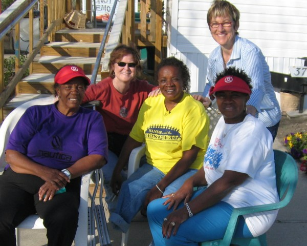Browne with one of the families that she worked with in New Orleans.