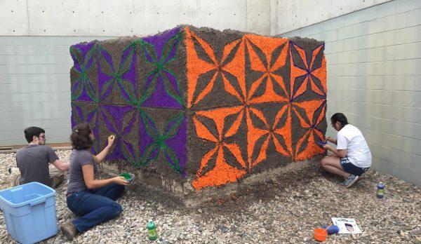 Students creating mural
