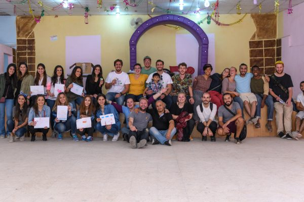 The coloring party in Jerash refugee camp