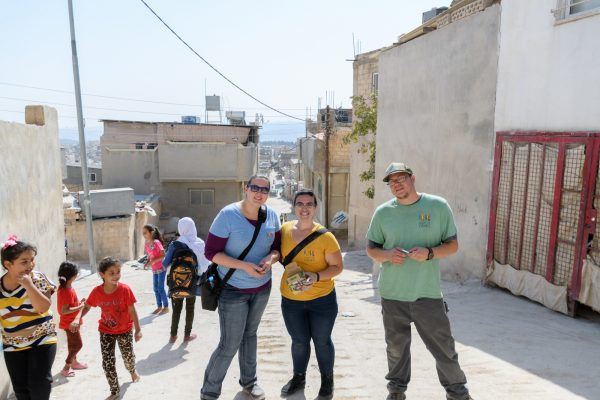 Chelsea, Betty and Vince in Jerash refugee camp Jordan.
