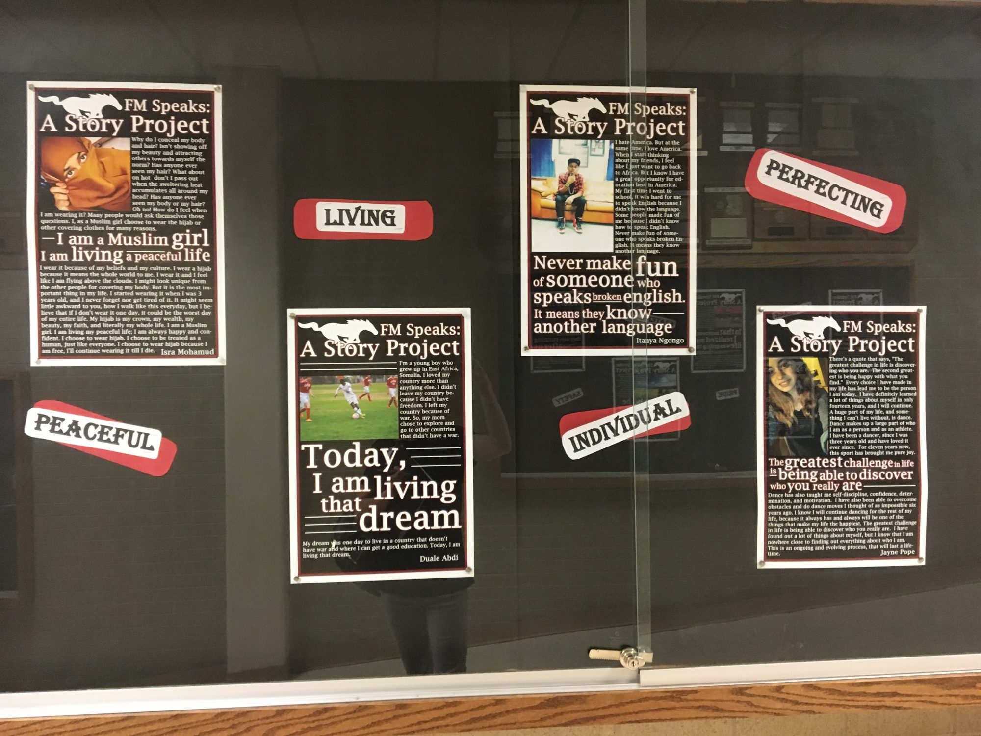 Posters from Fort Morgan Speaks on display at Fort Morgan High School