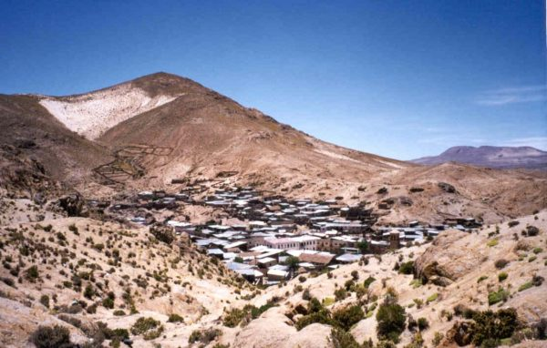 Aerial view of the Porco village in Bolivia