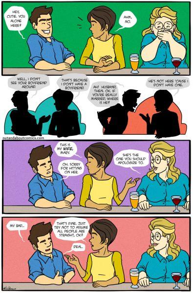 Comic strip depicting a man assuming a woman at a bar was straight