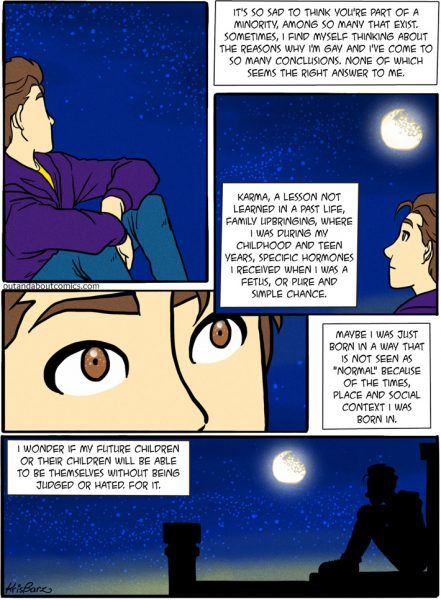 Comic of a man contemplating if future generations will be judged as harshly