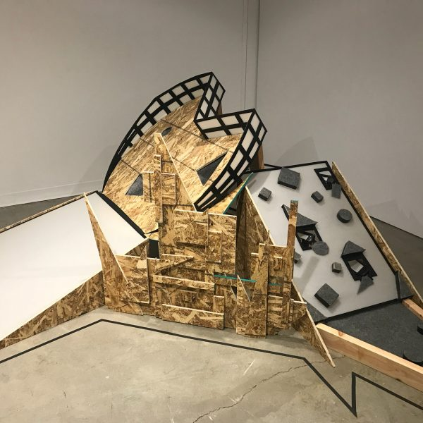 Sculptural mini golf hole made out of plywood