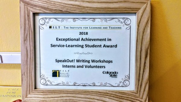 Printed and framed award for the SpeakOut! Writing Workshop