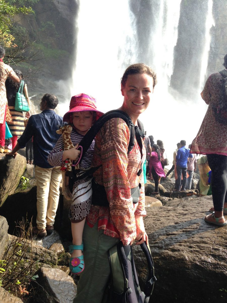 Eleanor Moseman and daughter at the Athirappilly Waterfalls in India.