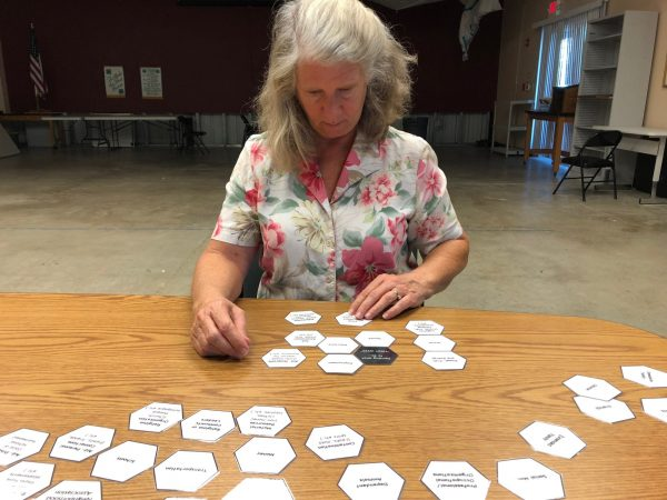Woman lays out cards as part of anthropological study