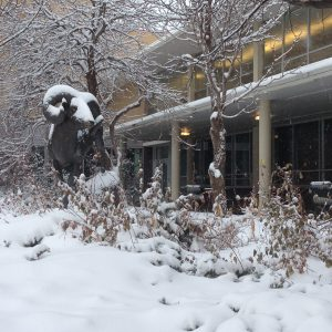 Snow on CAM the Ram statue