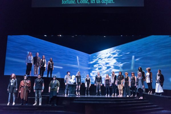 Water was projected as part of the scenery in Idomeneo by Wolfgang Amadeus Mozart
