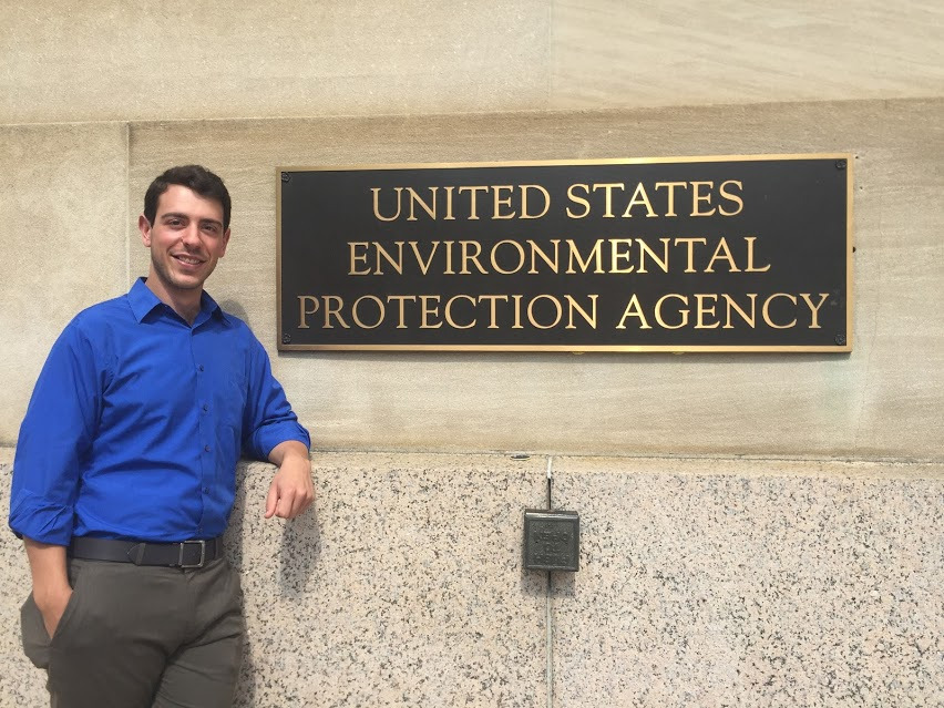 Jake Adler outside of the Environmental Protection Agency headquarters in D.C.