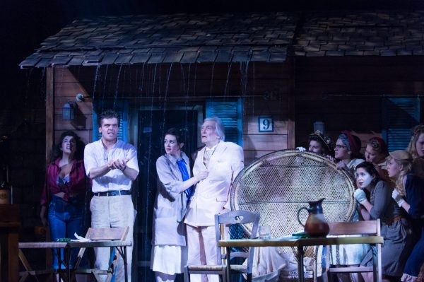 Creatives at the University Center for the Arts created on-stage rain in The Night of the Iguana by Tennessee Williams