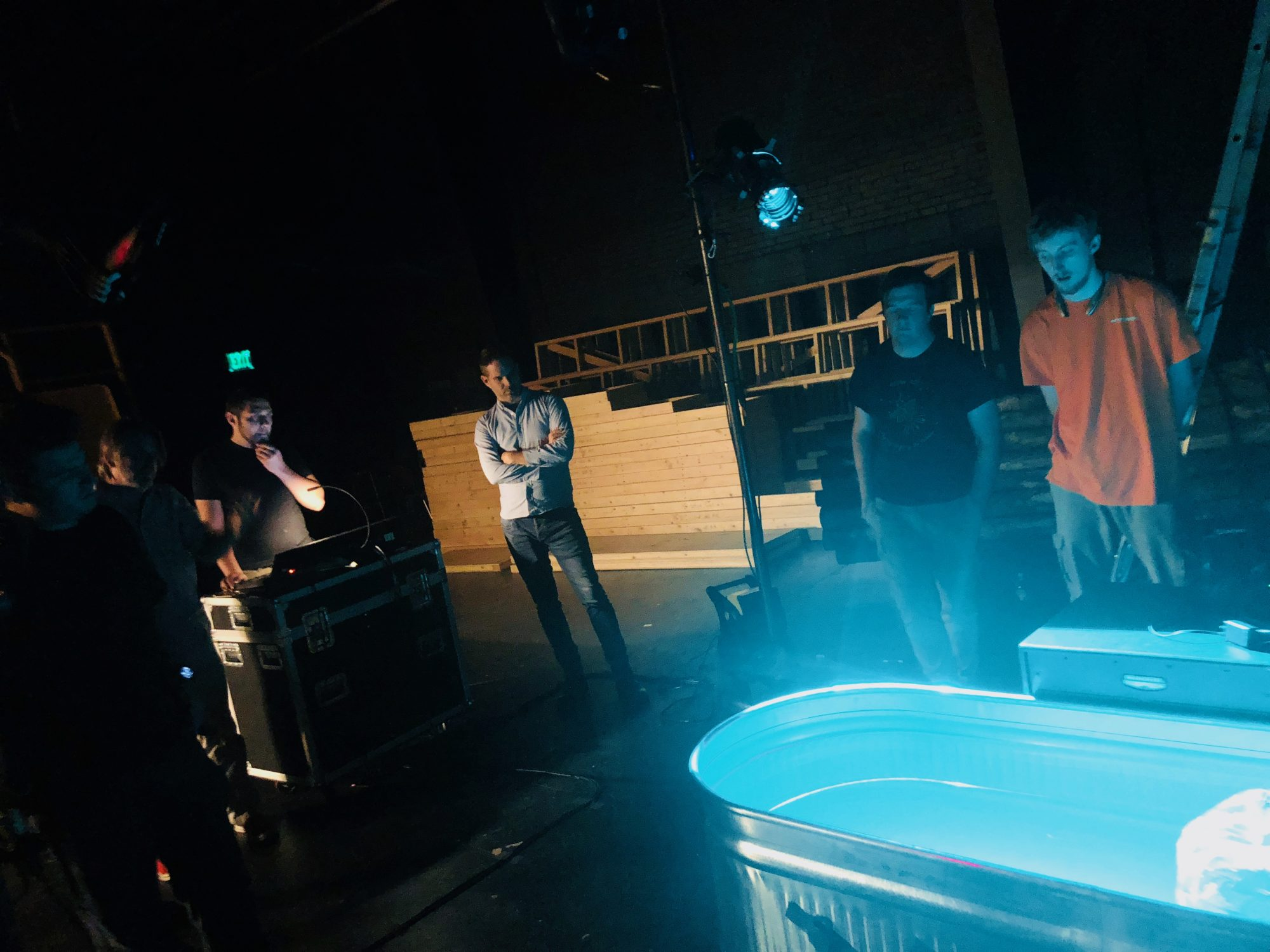 The tech team testing out how to light the bathtub for Big Love