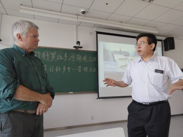 Pete Taylor presenting water research at Chinese Academy of Social Sciences (CASS) in Beijing. Photo by KuoRay Mao