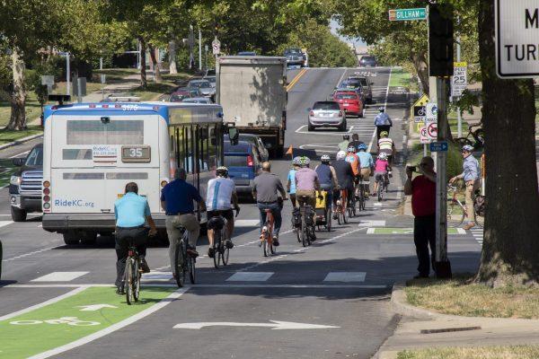 bicyclists on Kansas City streets