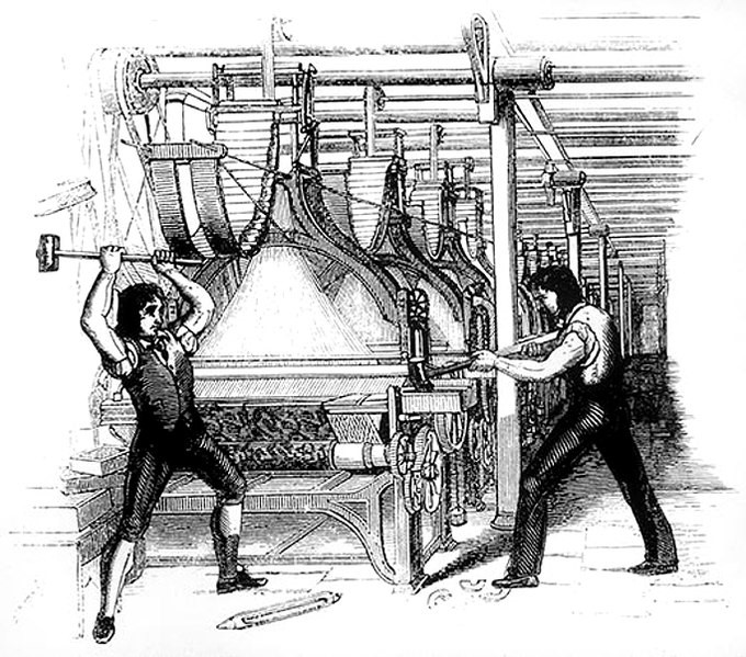 Drawing of Luddites destroying manufacturing equipment during a protest