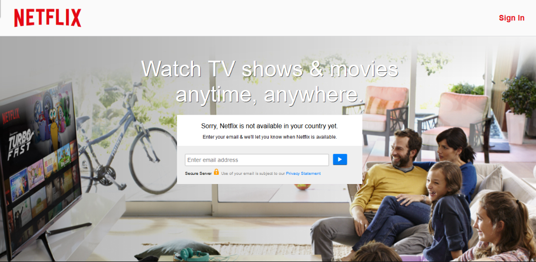 "Screenshot of Netflix login that says ""Sorry, Netflix is not available in your country yet."""