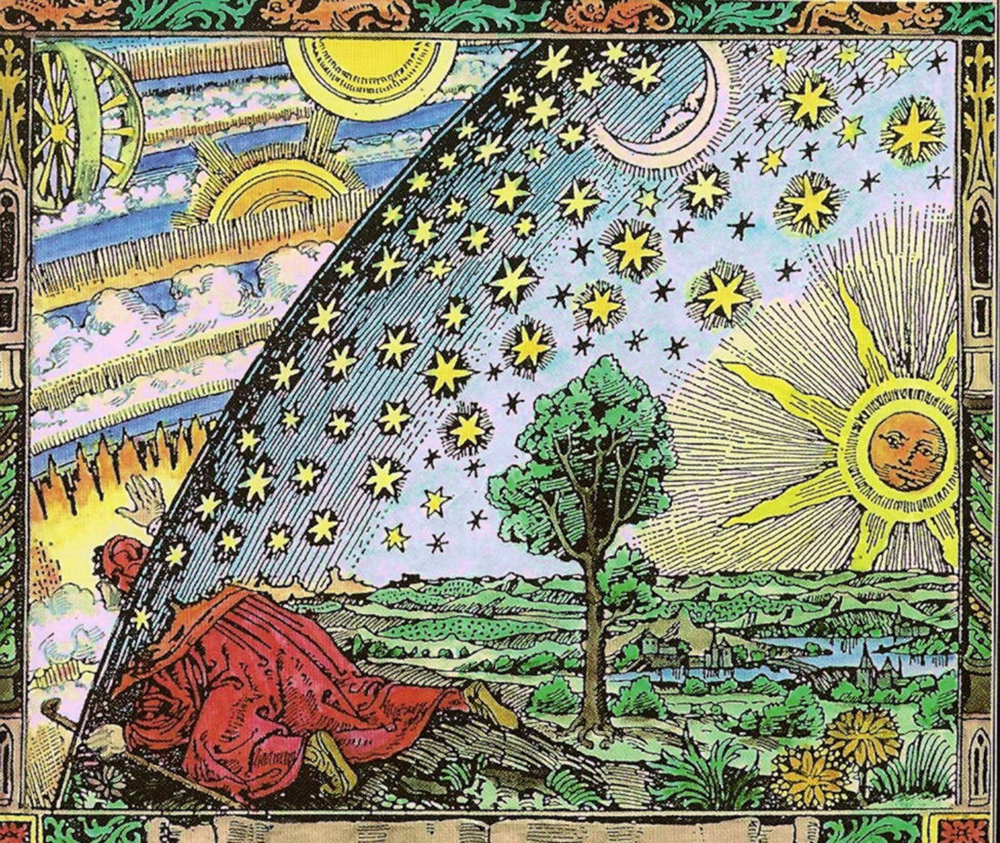 A traveller puts his head under the edge of the firmament in the original (1888) printing of the Flammarion wood engraving.