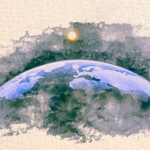 Stylized by watercolor sketch painting of world map