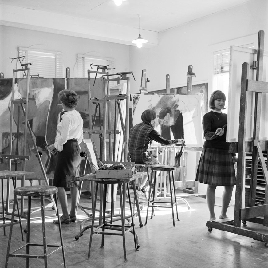 Female students work on paintings in class, 1965, CSU