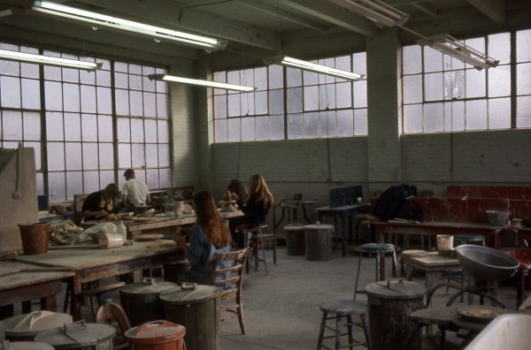 1968-69ish-Students work with pottery in Old Main