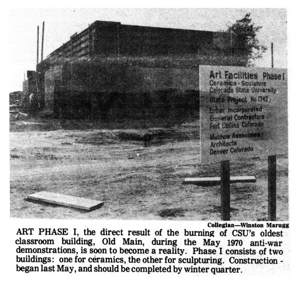 Old Main after fire 1973