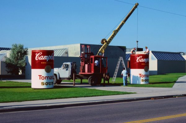 Andy Warhol's soup cans get installed on CSU campus near Visual Arts Building, 1981