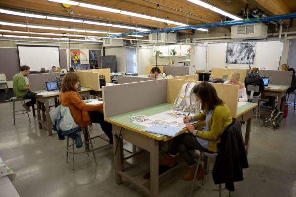 CSU students engaged in graphic design in class