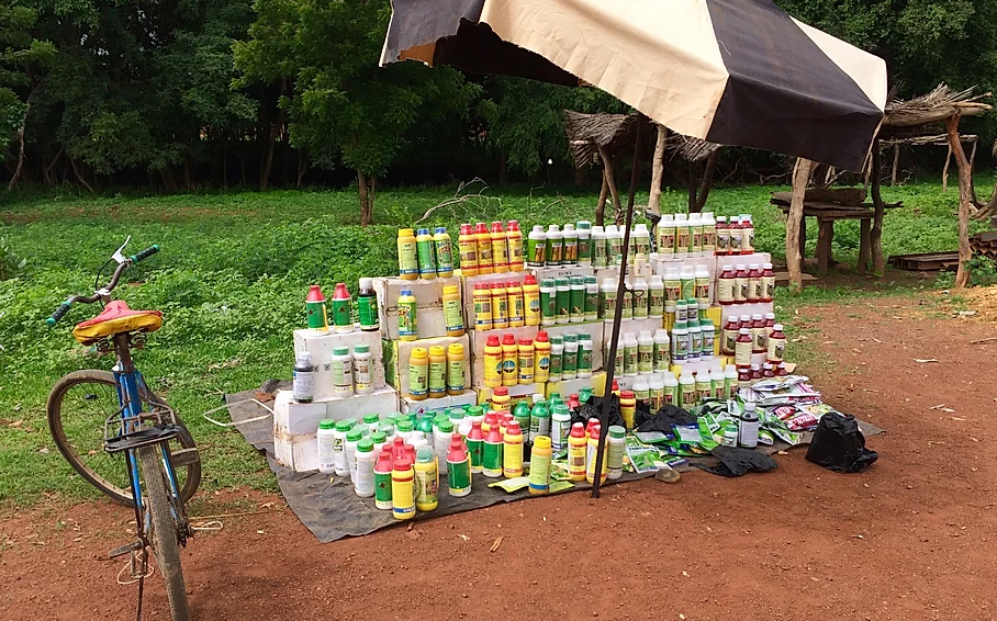 Bottles of pesticides for sale at a roadside stand in Burkina Faso.