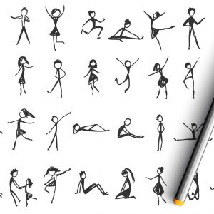 Collection of hand drawn sketches of people dancing and moving