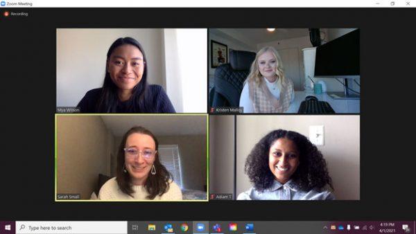 Undergraduate Women in Economics Zoom call in revived meeting