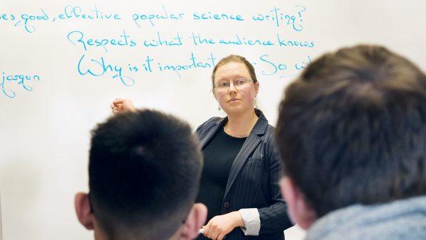 Erika Szymanski teaches a class on popular science writing